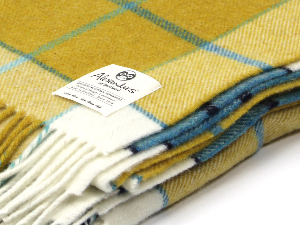 Traditional Weight Woollen Blanket - Seashore Plaid