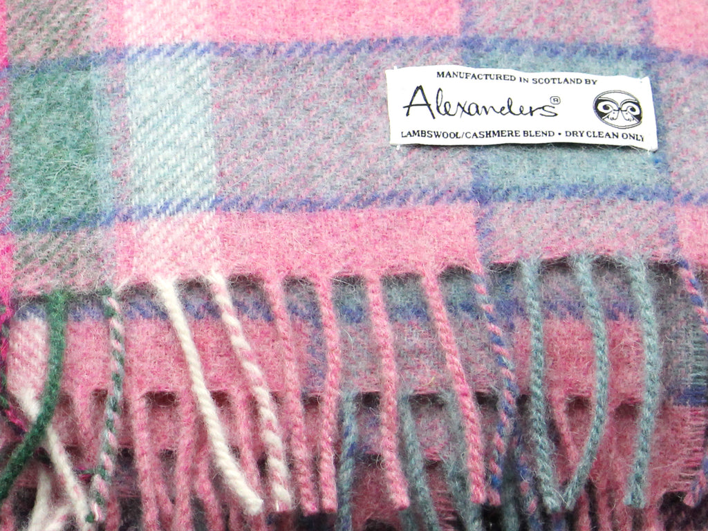 Lambswool/Cashmere Blend Throw - Pink Plaid