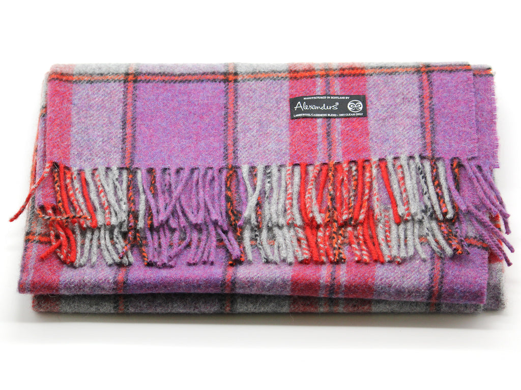 Lambswool/Cashmere Blend Throw - Purple Plaid