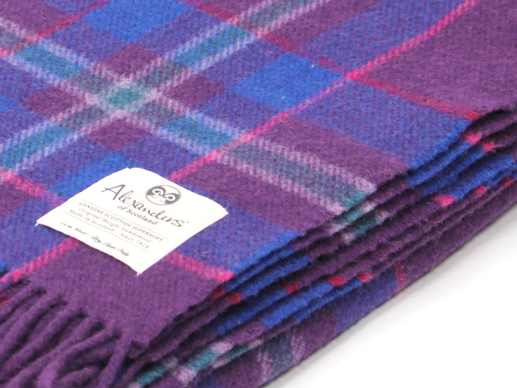 Traditional Weight Woollen Blanket - Purple Plaid