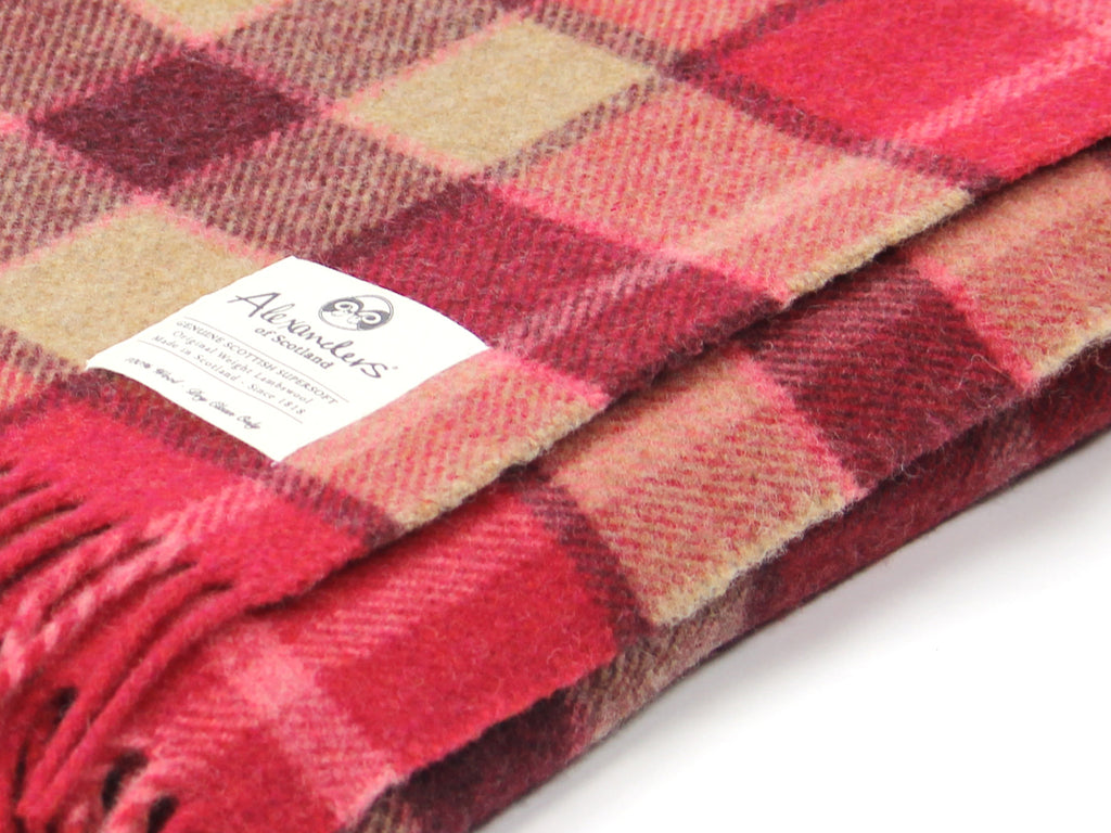 Traditional Weight Woollen Blanket - Crimson Sunrise Plaid