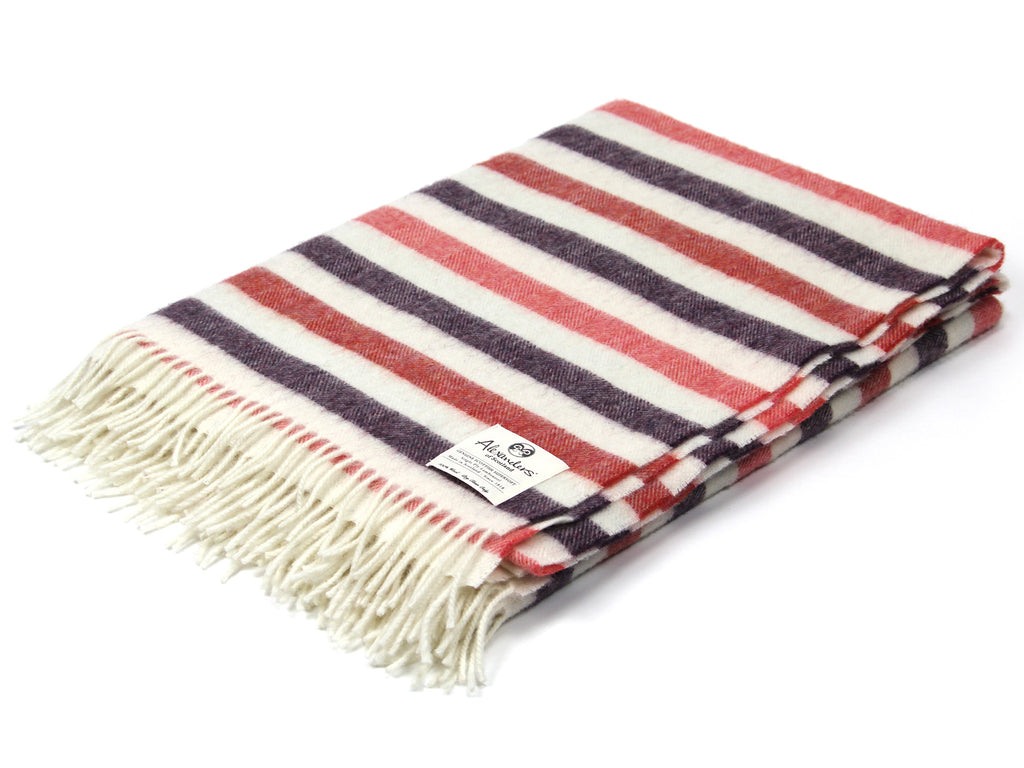 Striped Lambswool Herringbone Blanket - Red/Purple/Pink