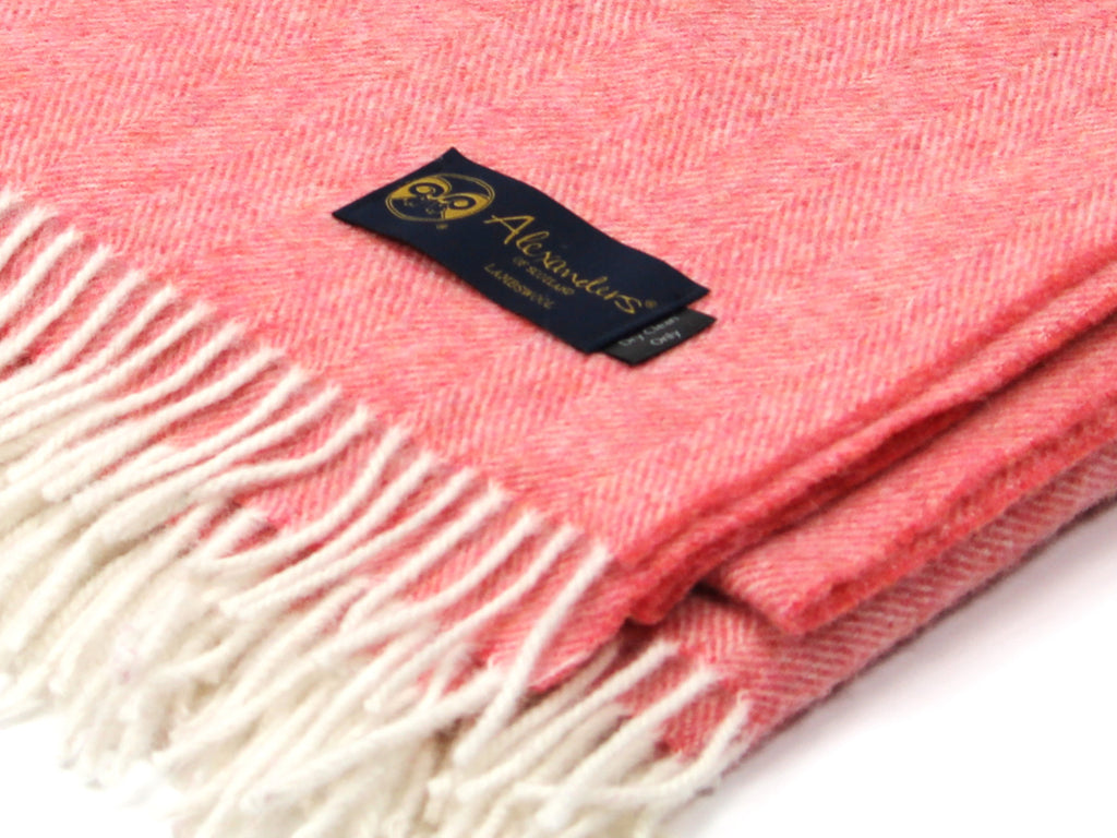 Lambswool Herringbone Blanket - Salmon