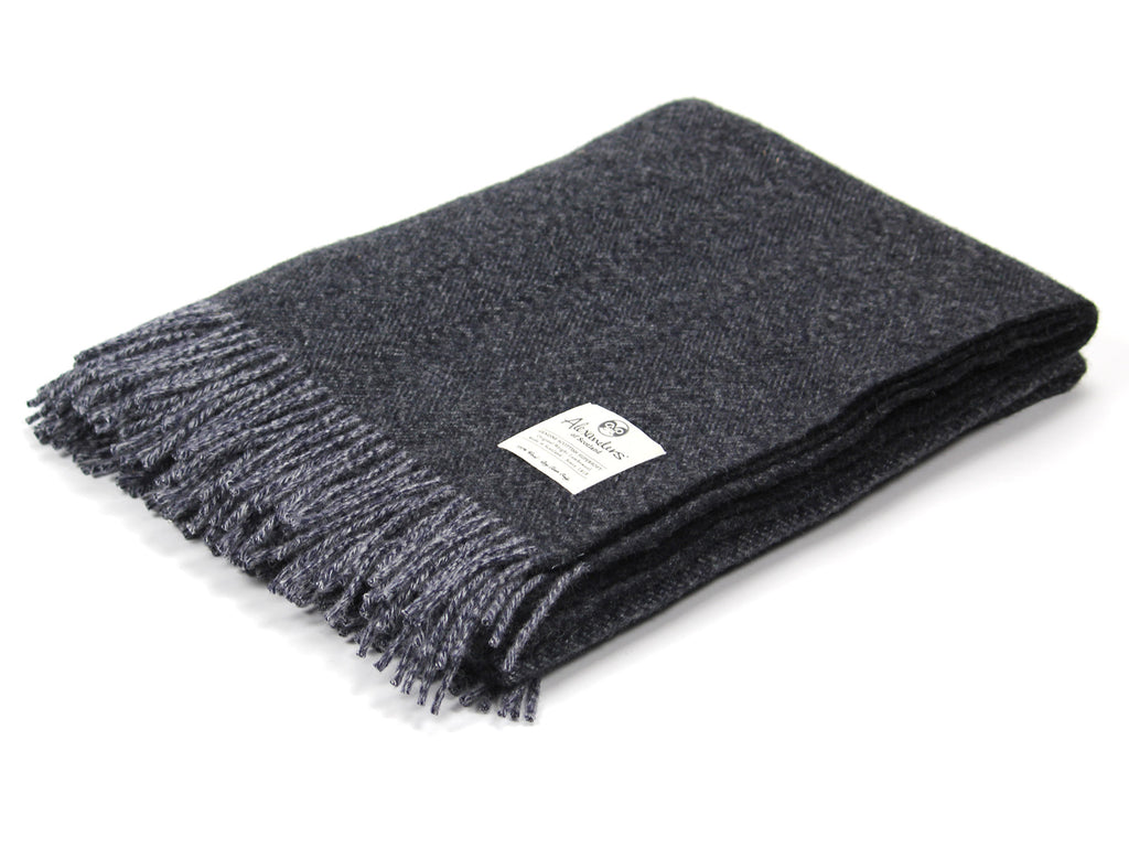 Speckled Hen Lambswool Blanket - Navy/Silver/Charcoal