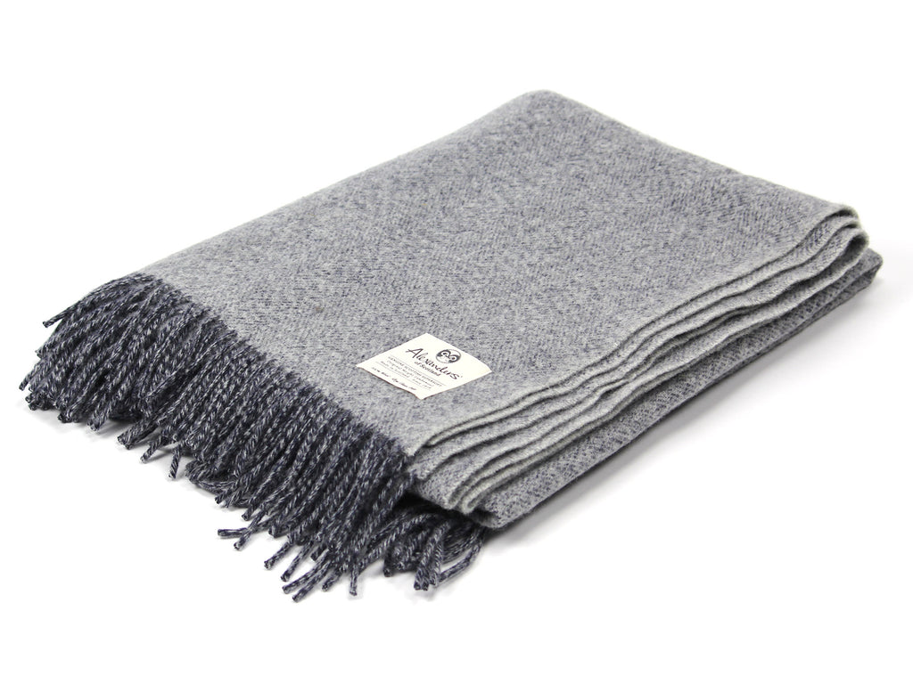 Speckled Hen Lambswool Blanket - Navy/Silver/Silver