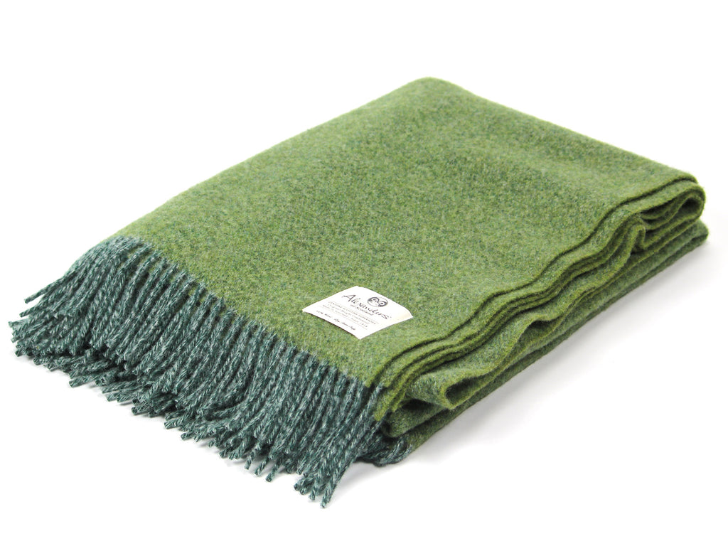 Speckled Hen Lambswool Blanket - Forest/Silver/Olive Marl