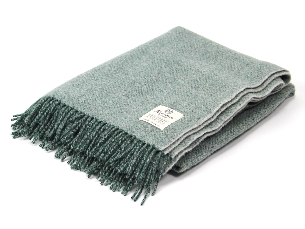 Speckled Hen Lambswool Blanket - Forest/Silver/Silver