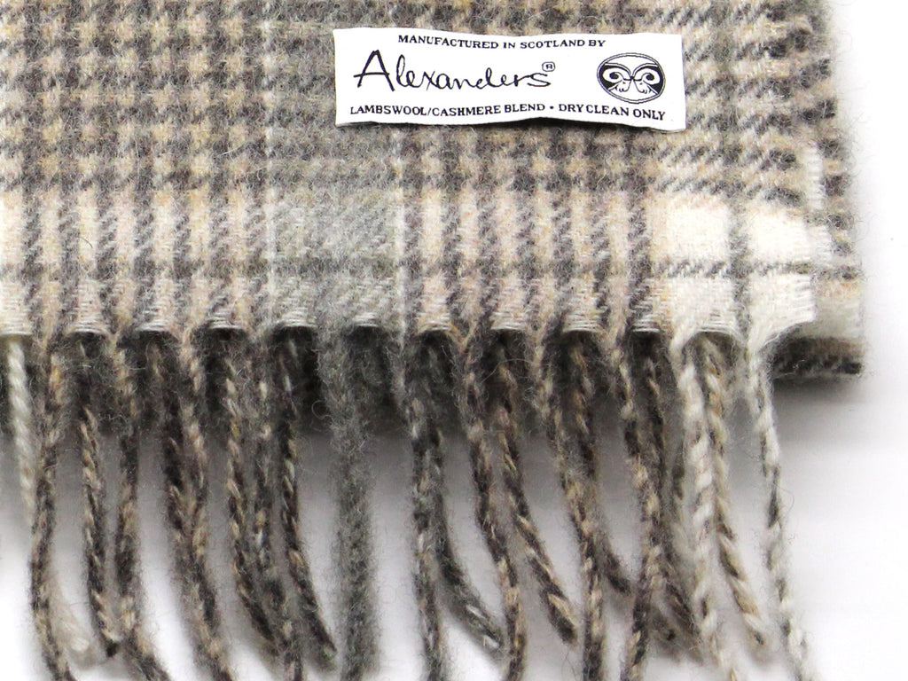 Lambswool/Cashmere Blend Scarf - Beige Plaid