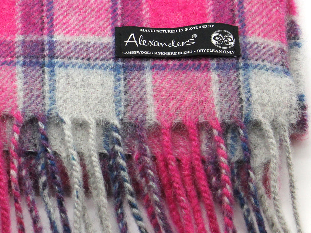 Lambswool/Cashmere Blend Scarf - Pink City Plaid