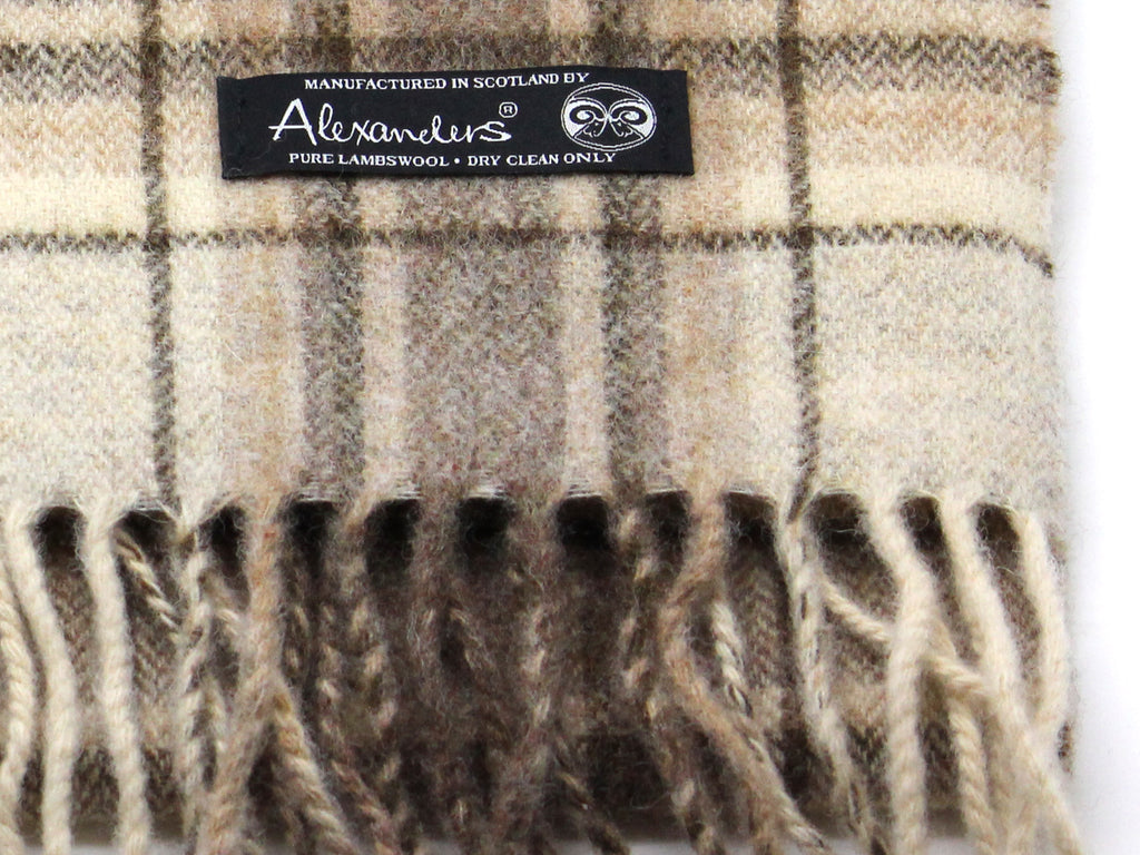 Beige Plaid Lambswool Scarf