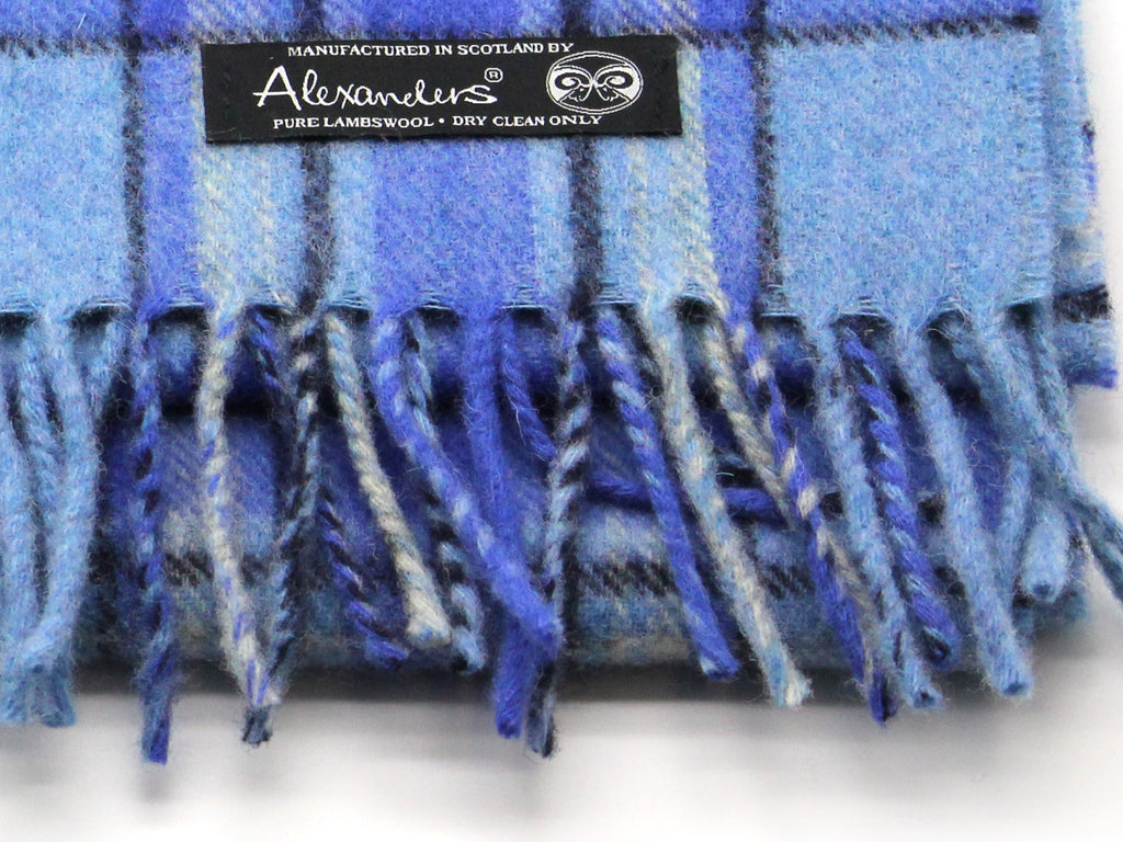 Ocean Plaid Lambswool Scarf
