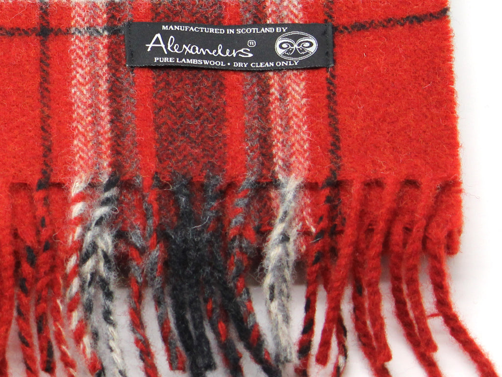 Red Plaid Lambswool Scarf