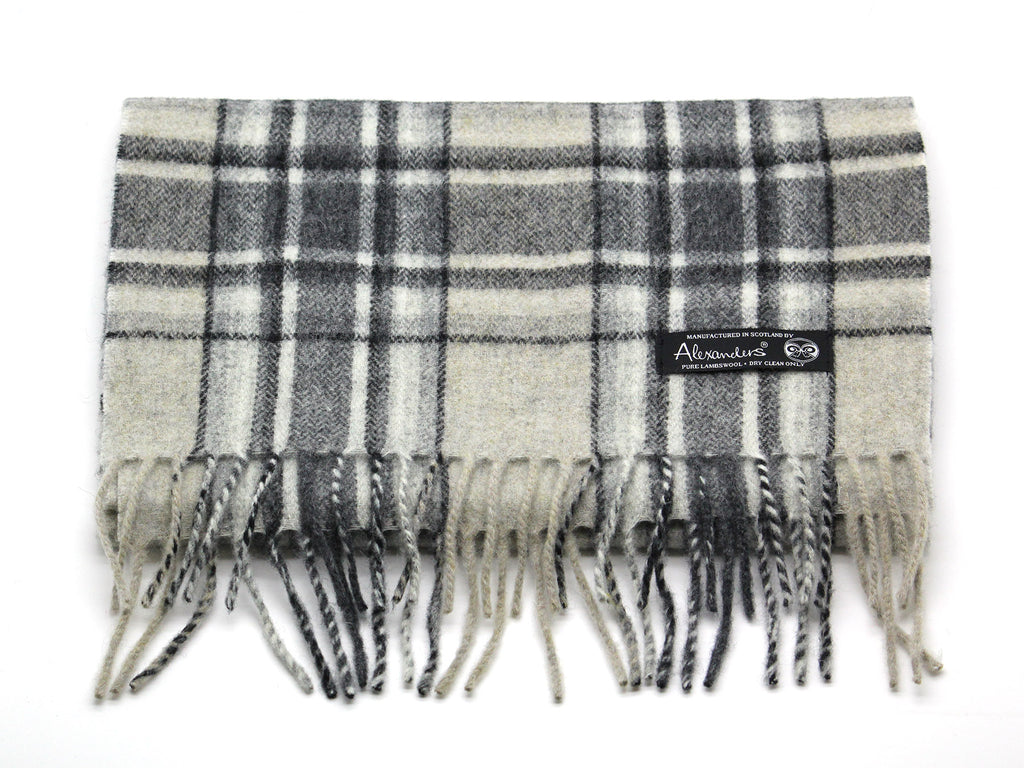 Grey Plaid Lambswool Scarf