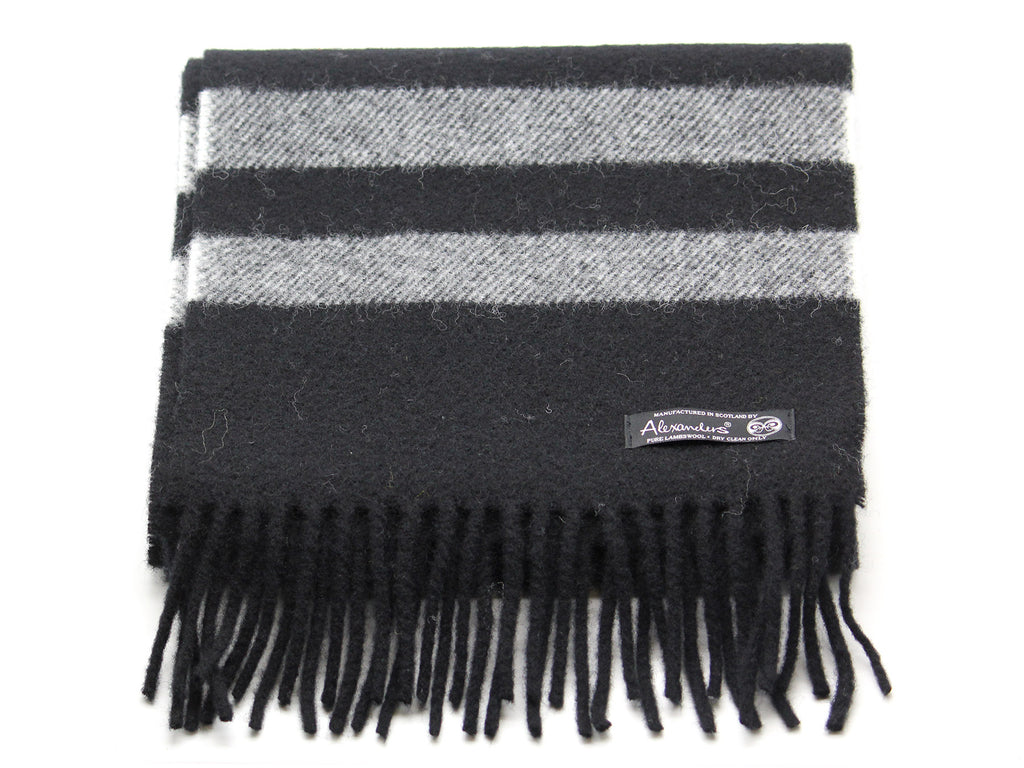 Cosy Blanket Scarf - Black with Silver Stripe