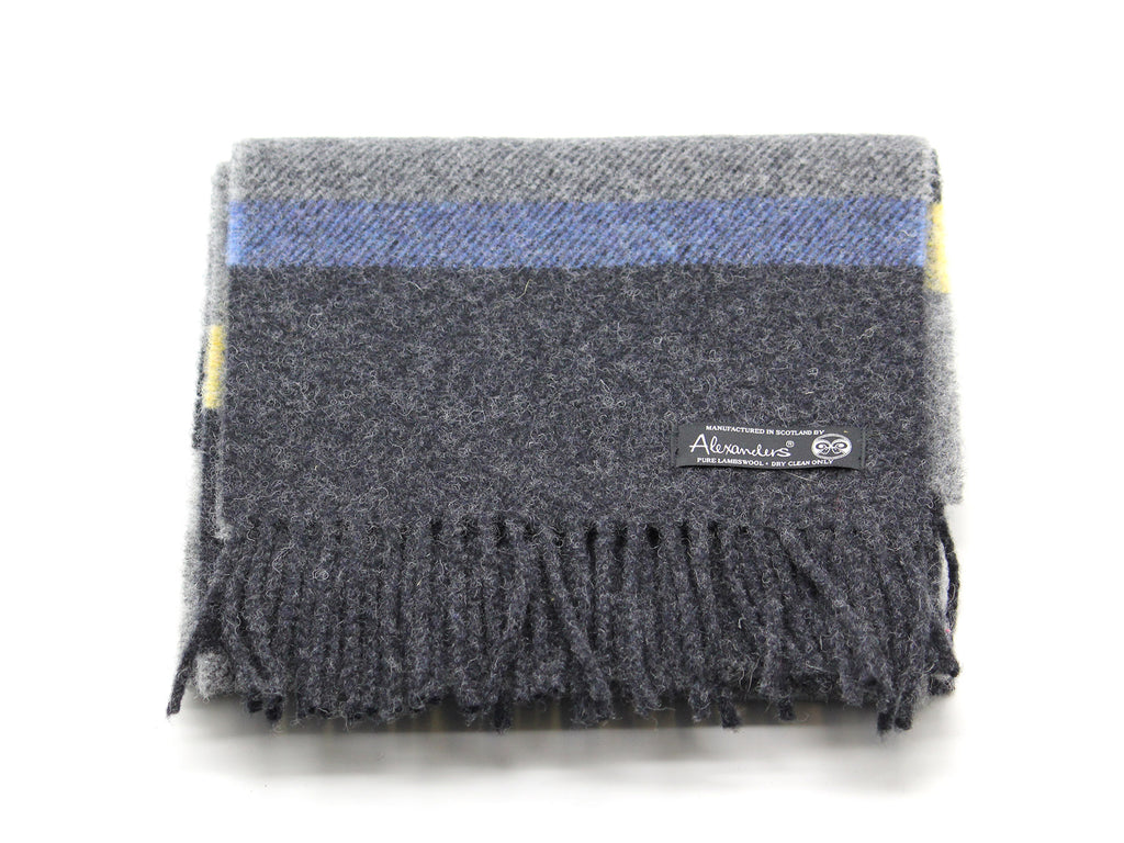 Cosy Blanket Scarf - Charcoal Lemon Stripe