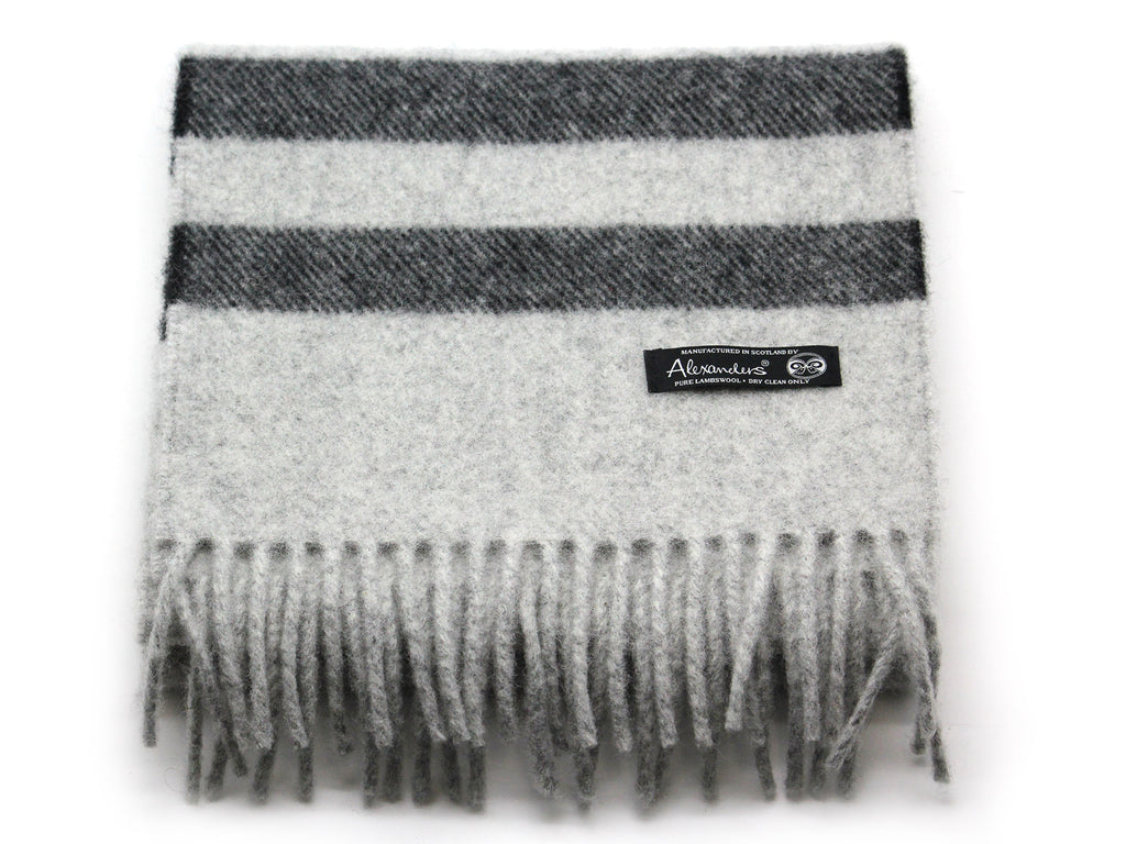 Cosy Blanket Scarf - Silver with Black Stripe
