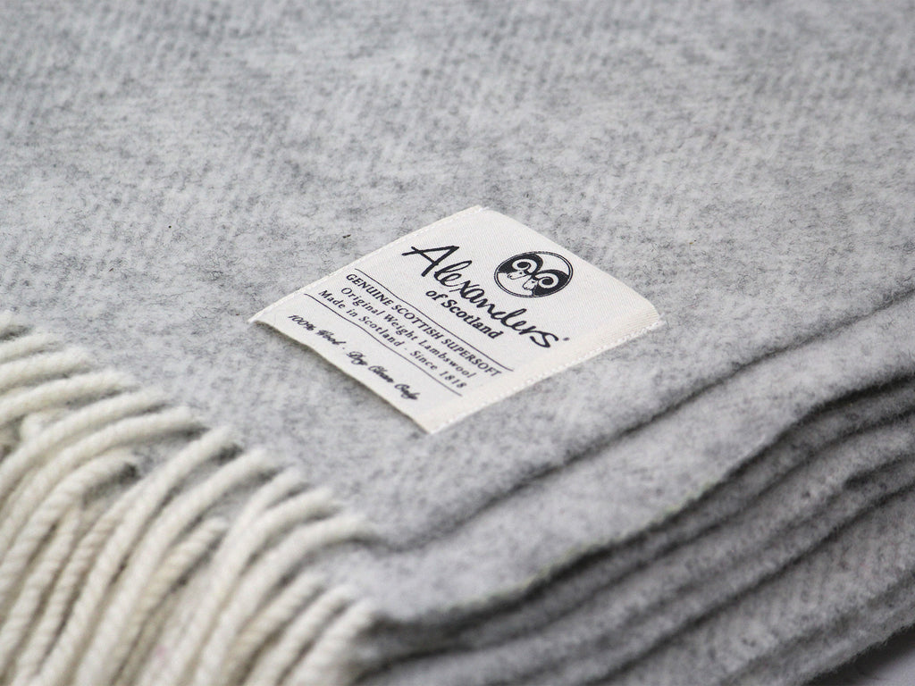 Traditional Weight Woollen Blanket - Silver Herringbone