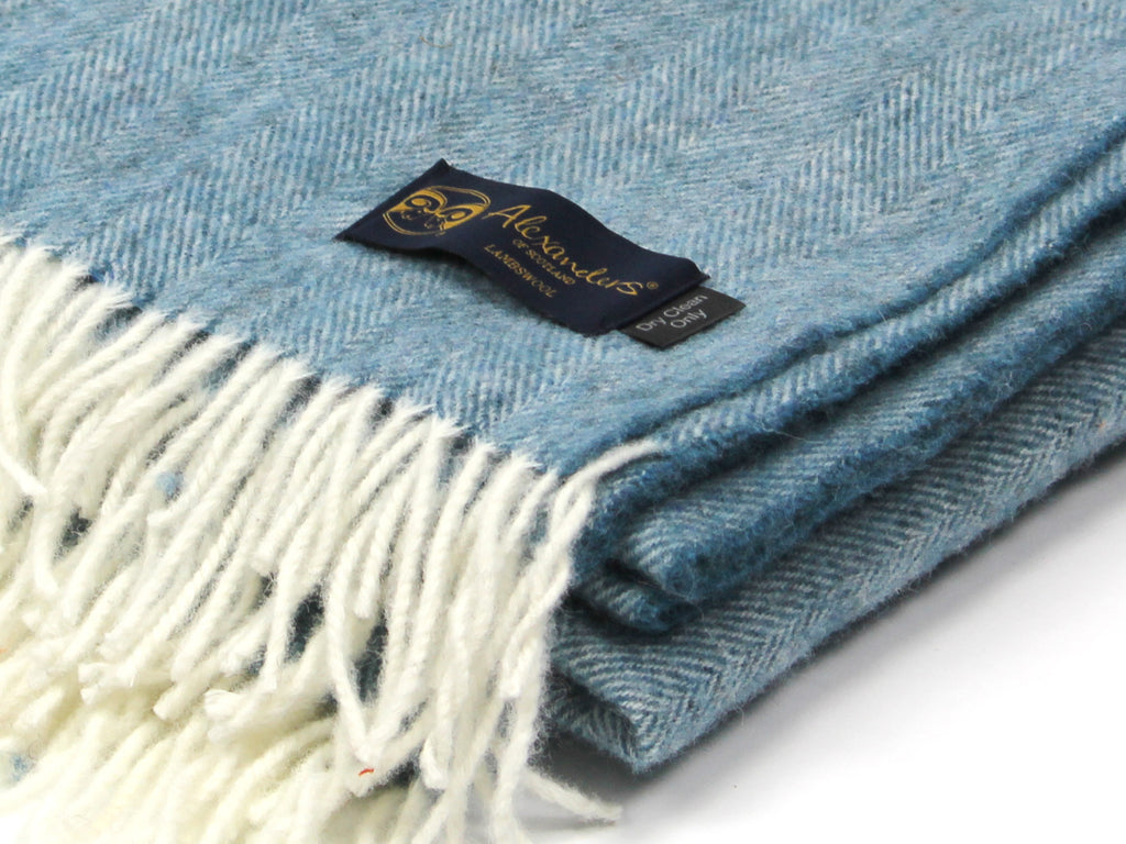 Lambswool Herringbone Blanket - Teal Feather