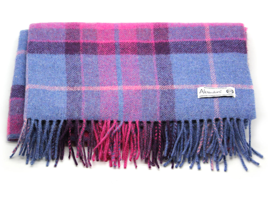 Lambswool/Cashmere Blend Throw - Violet Plaid