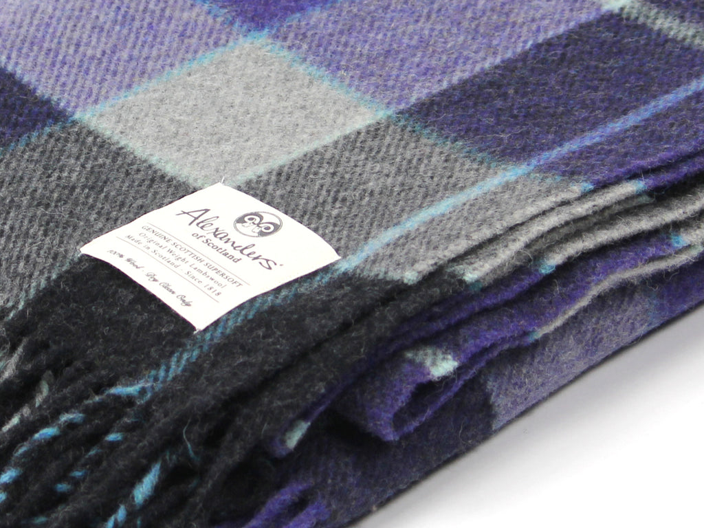 Traditional Weight Woollen Blanket - Violet Plaid