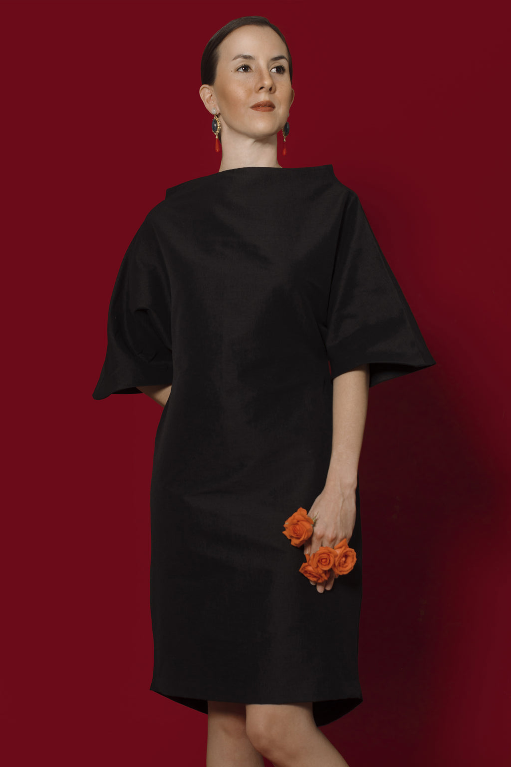 Araminta Dress In Black Dupioni Silk