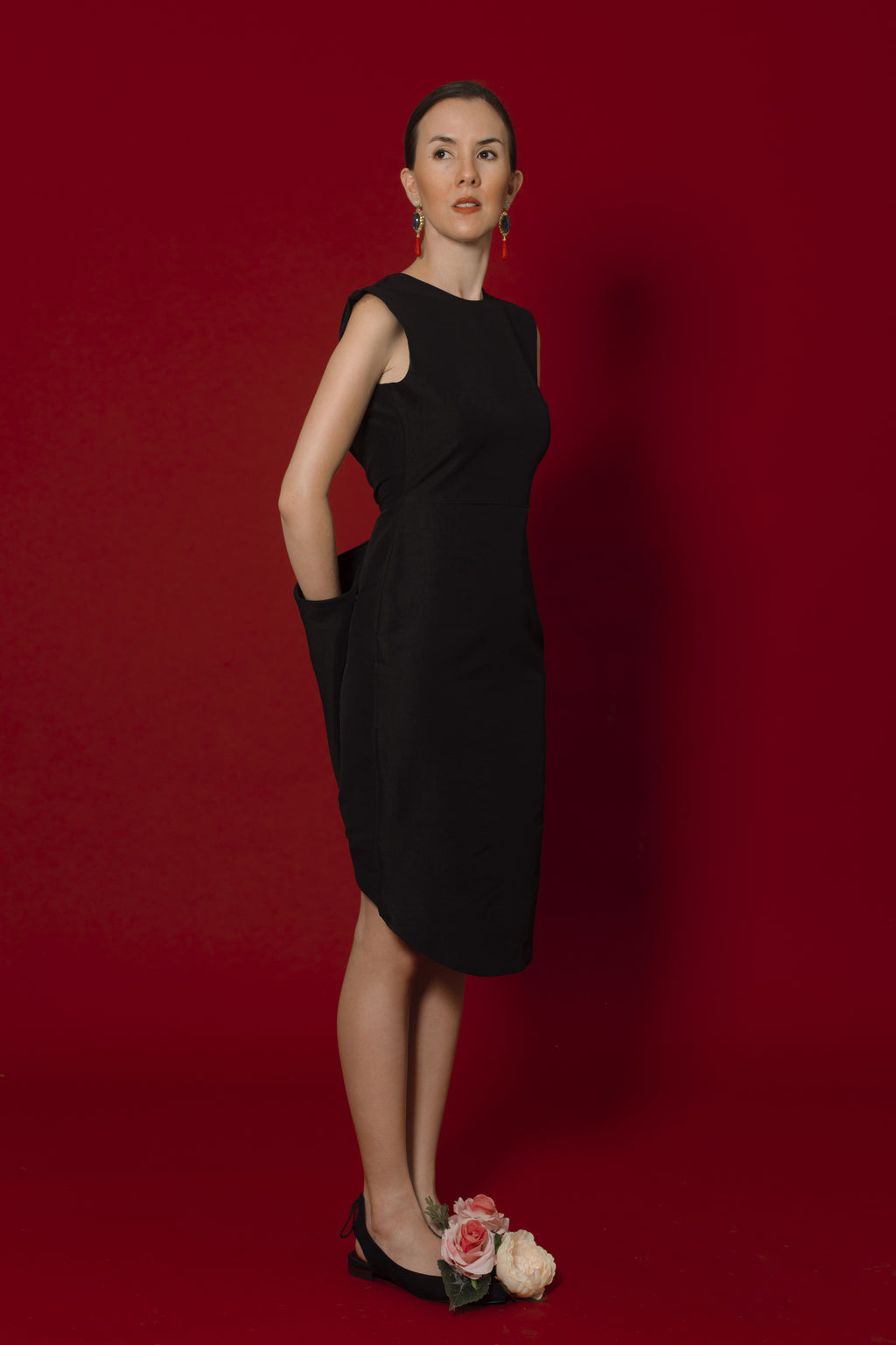 Claire Dress In Black Dupioni Silk