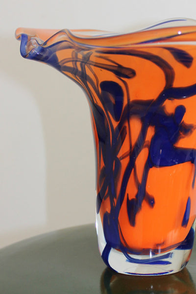 Orange And Blue Glass Sculpture