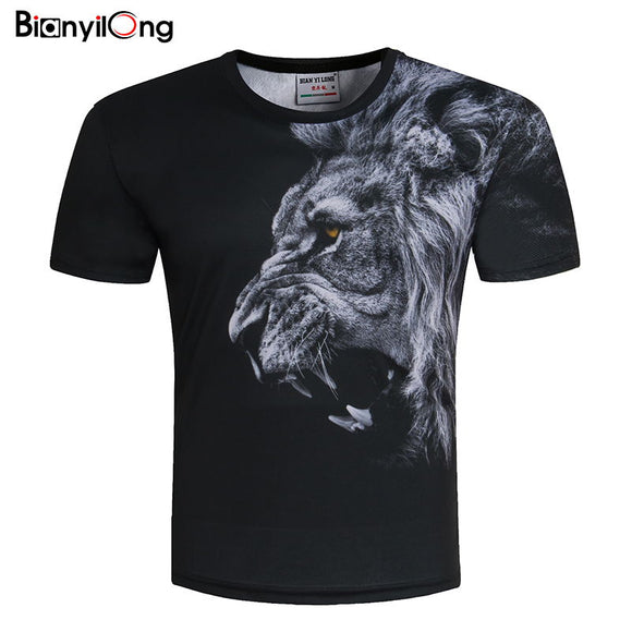 Lion Print Designed Stylish Summer T shirt Brand Tops Tees Plus Size M-5XL
