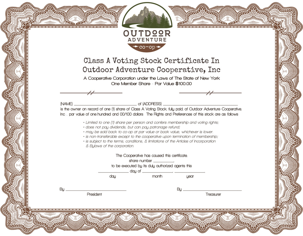 1 Class A Voting Membership Share Stock Certificate