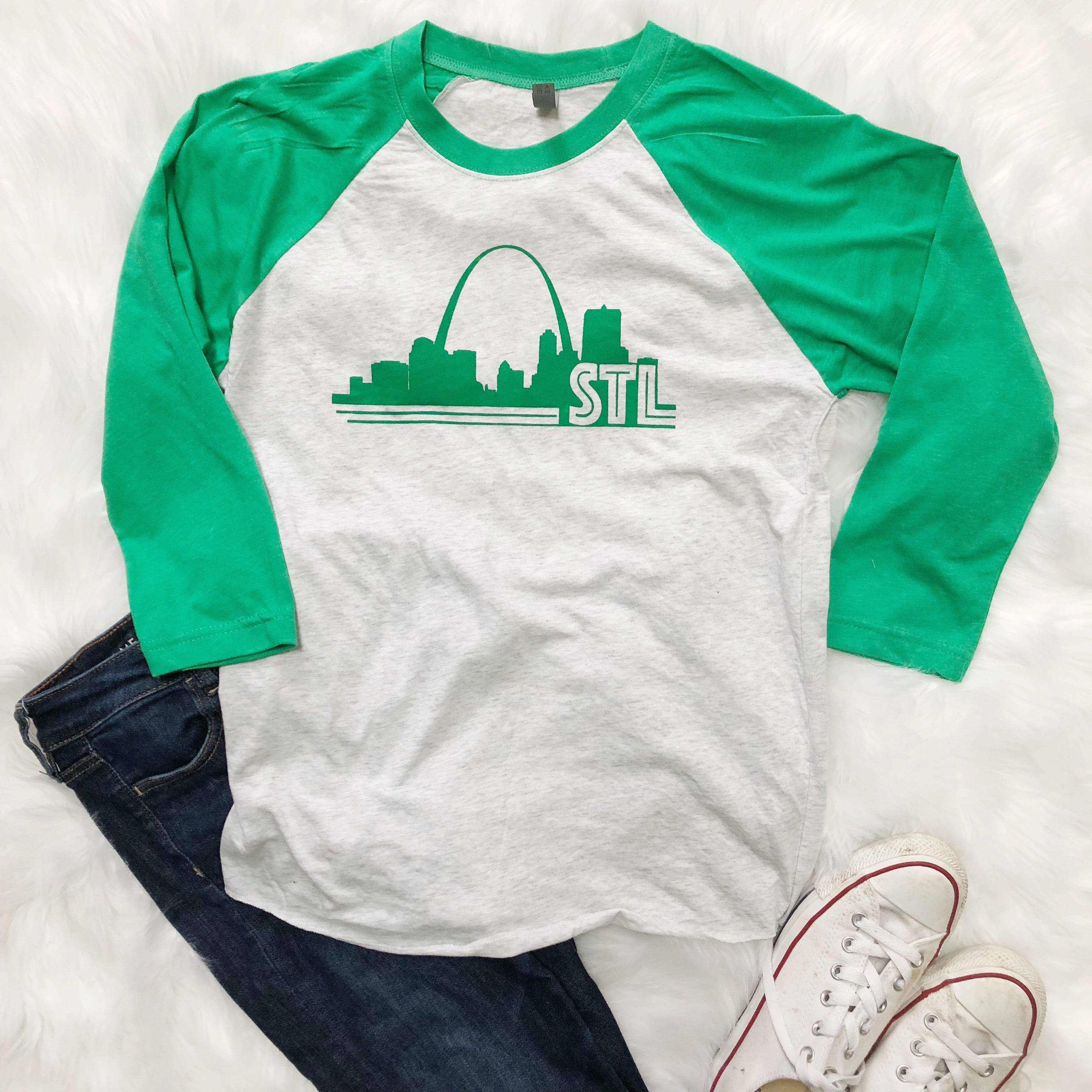 Men's/Women's 3/4 Sleeve Raglan St. Louis Green Arch Shirt