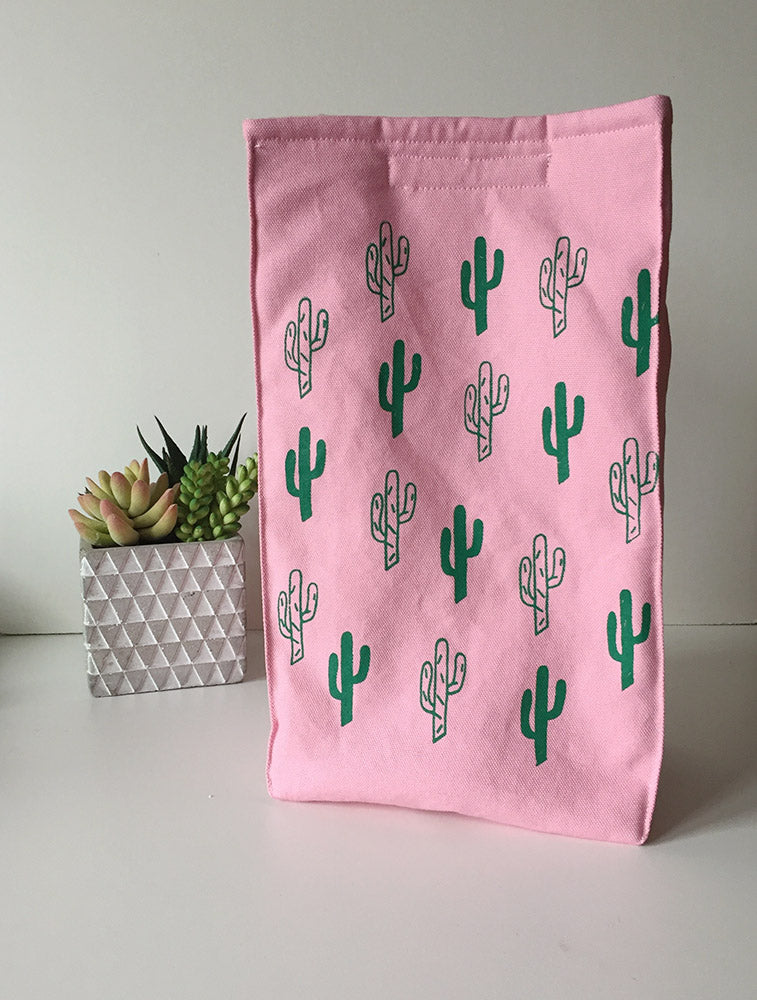 Organic Cotton Cactus Print Lunch Bag