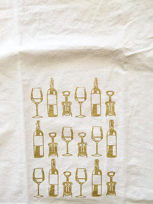 Wine Bottle Print Flour Sack Towel