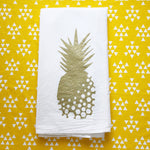 Gold Pineapple Print Flour Sack Towel
