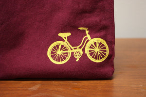 Organic Cotton Bike Print Lunch Bag-Purple