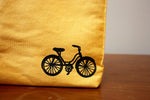 Organic Cotton Bike Print Lunch Bag-Yellow
