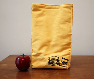 Sandwich Print Organic Cotton Insulated Lunch Bag