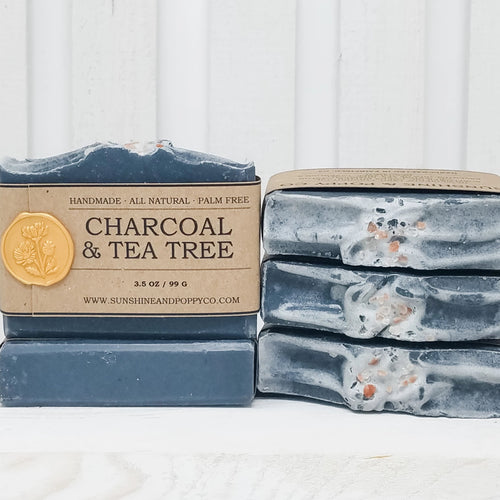 Charcoal & Tea Tree - Face, Hand & Body Bar (100% Natural) · Handmade Cold Process Soap