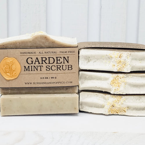 Garden Mint Scrub - Wake Up Bar (100% Natural) · Handmade Cold Process Soap