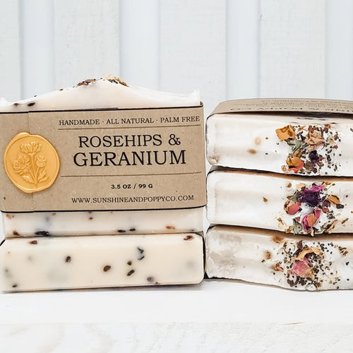 Rosehips & Geranium - Hand & Body Bar (100% Natural) · Handmade Cold Process Soap