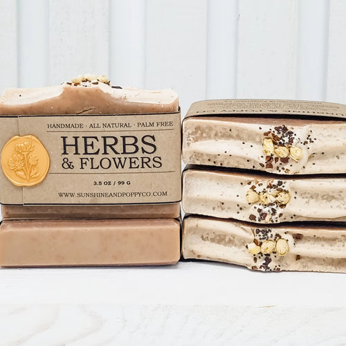 Herbs & Flowers - Face, Hand & Body Bar (100% Natural) · Handmade Cold Process Soap