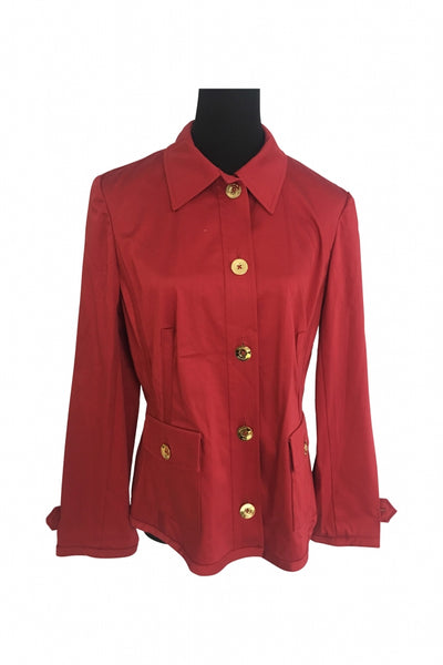 Jones New York, Women's Red Button-up Long-sleeved Shirt - Size: L (Regular)