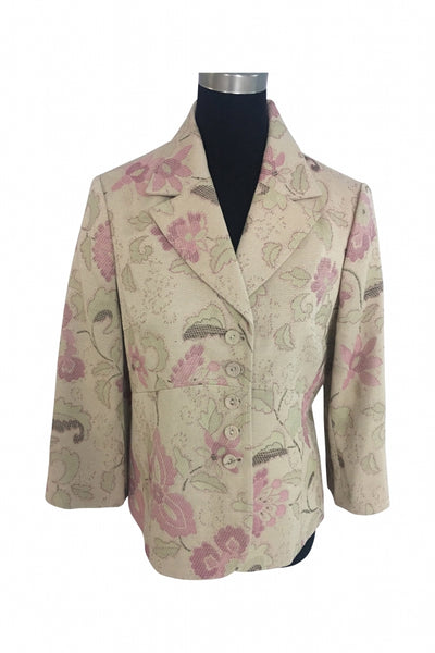 Emma James, Women's White And Pink Floral Print Jacket - Size: 16 (Regular)
