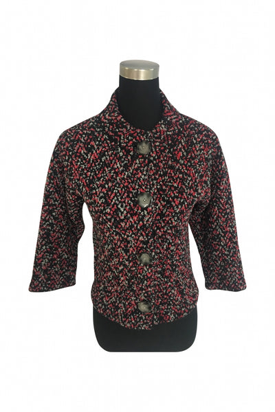 Jones New York, Women's Black, Red, And White Button-up Shirt - Size: XS (Regular)