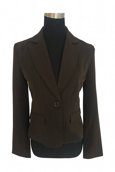 My Michelle, Women's Brown Pinstripe Blazer - Size: 4 (Regular)
