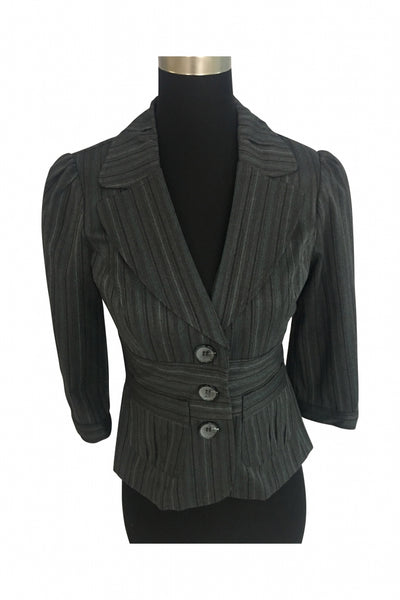 My Michelle, Women's Gary Striped 3-button Coat - Size: M (Regular)