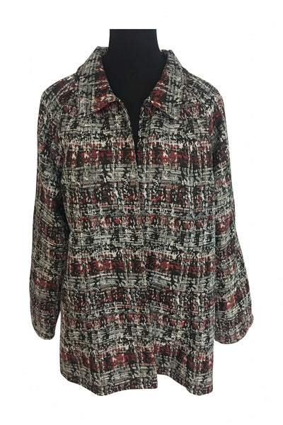 Christopher & Banks, Women's Brown And Blackish Floral Print Jacket - Size: XL (Regular)