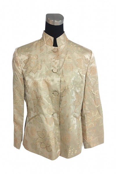 Anne Klein, Women's Beige Button-up Coat - Size: 14 (Regular)