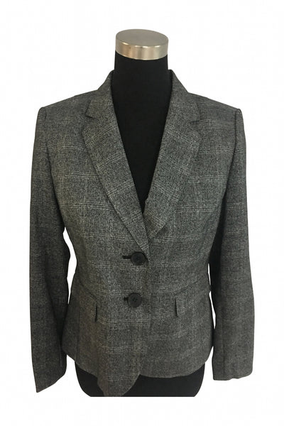 Kasper, Women's Grey 2-button Blazer - Size: 6 (Regular)