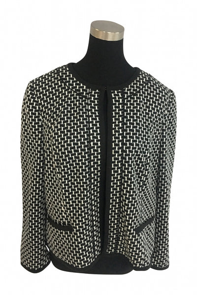 Christopher & Banks, Women's Black And White Zip-up Jacket - Size: L (Regular)