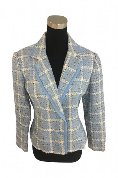 Requirements, Women's Blue And White Long-sleeved Blazer - Size: 12 (Regular)